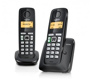 TELEFONO FIJO GIGASET A220 DUO INALAMBRICO  NEGRO